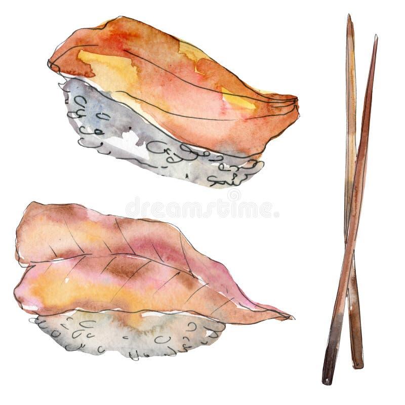 水彩寿司套美好的鲜美日本料理例证 在白色背景隔绝的手拉的对象 皇族释放例证
