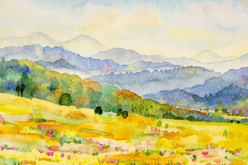 水彩山和草甸山水画  向量例证