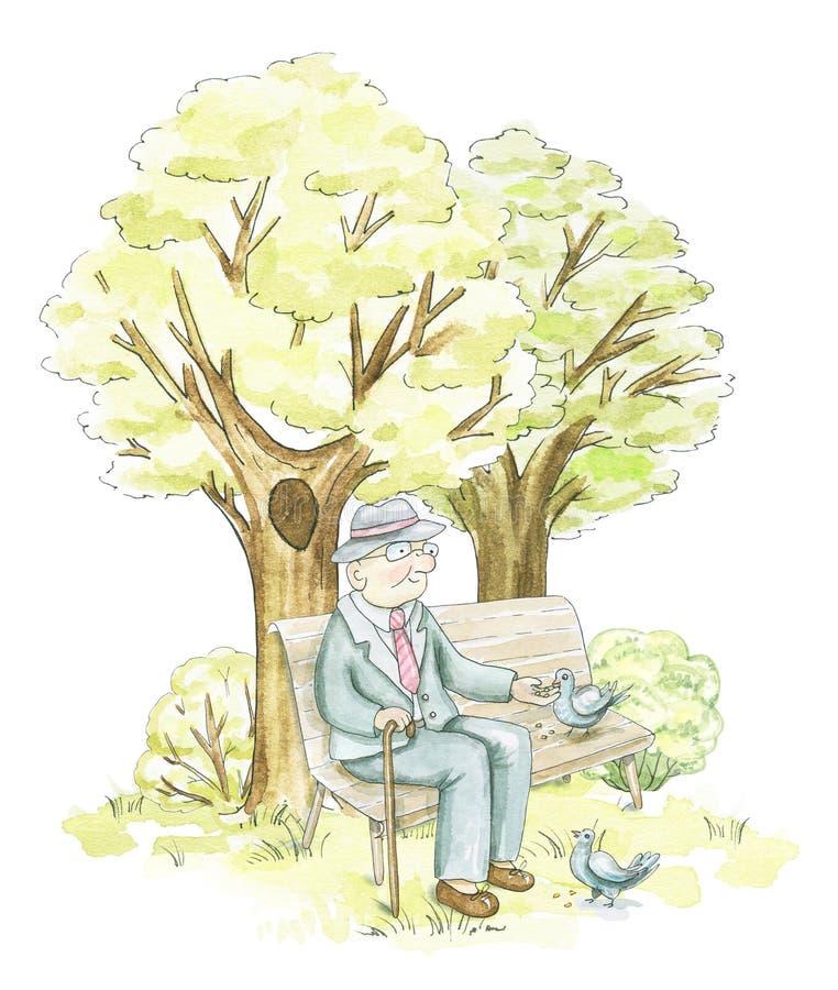 水彩年长人坐一条长凳在公园 皇族释放例证