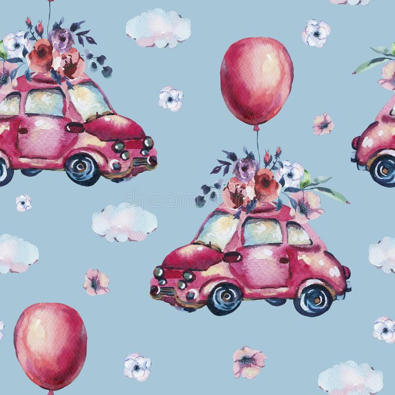 水彩幻想与逗人喜爱的红色减速火箭的汽车,花的贺卡 库存例证