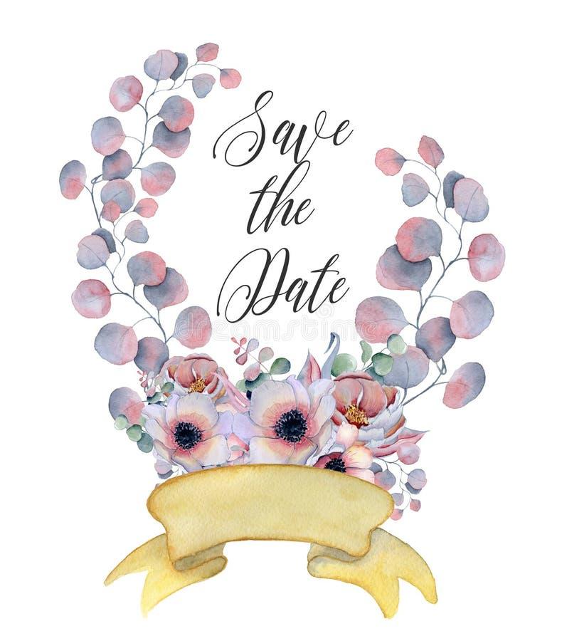 水彩开花与丝带的花圈您的文本的 横幅是能使用的不同的花卉例证目的 背景高雅重点邀请浪漫符号温暖的婚礼 皇族释放例证