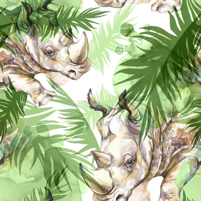 与五颜六色的热带叶子的犀牛 非洲动物背景 野生生物艺术.图片