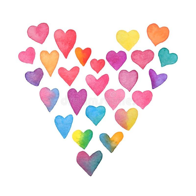 水彩彩虹心脏 在白色背景隔绝的心形框架 手画颜色心脏的汇集 红色上升了 皇族释放例证