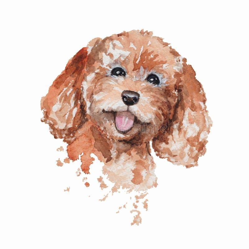 水彩微笑的红头发人狮子狗画象 免版税图库摄影