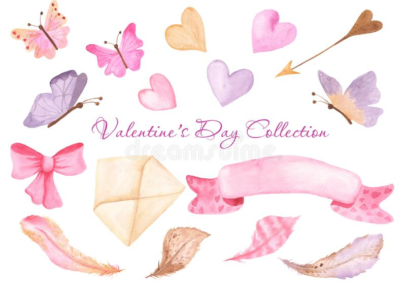 水彩心脏,蝴蝶,信封,丝带,弓 向量例证