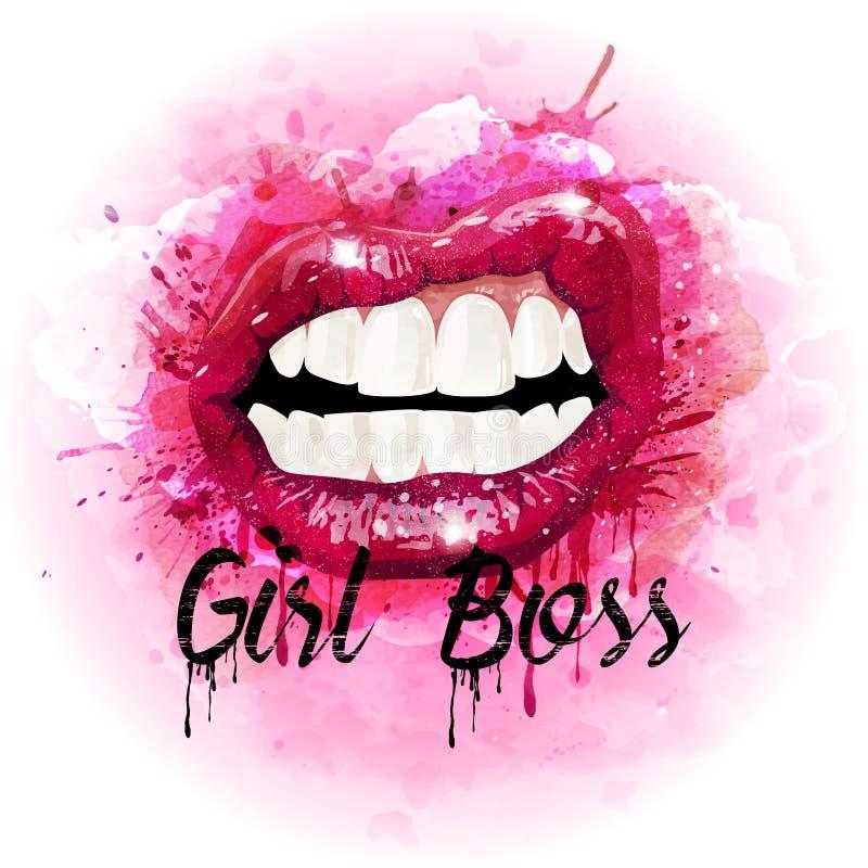 水彩性感的妇女桃红色嘴唇 向量 皇族释放例证