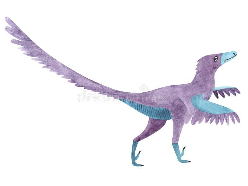 水彩恐龙 孩子的例证肉食鸟 向量例证