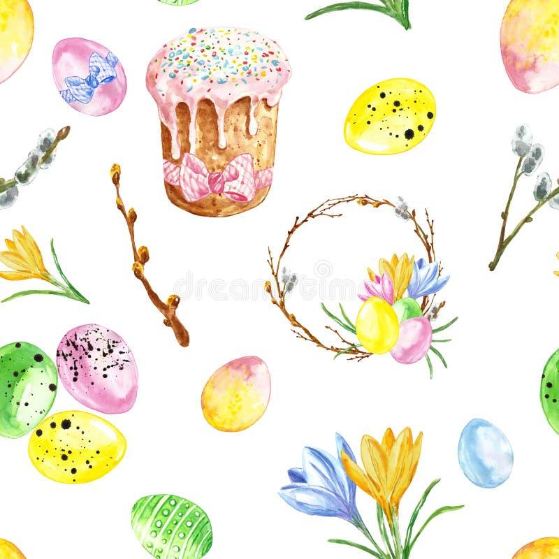 水彩愉快的复活节无缝的样式 五颜六色的重复背景用色的鸡蛋、花、花圈和甜给上釉的蛋糕 向量例证