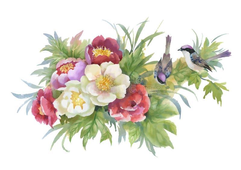 水彩手拉的五颜六色的美丽的花和鸟 向量例证
