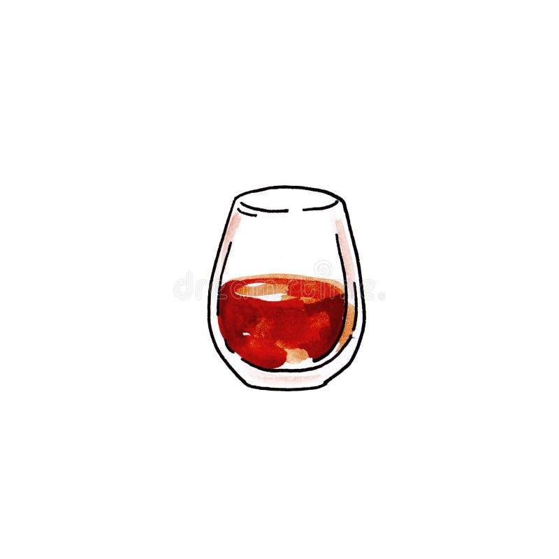 水彩手拉的例证杯在白色背景的科涅克白兰地 向量例证