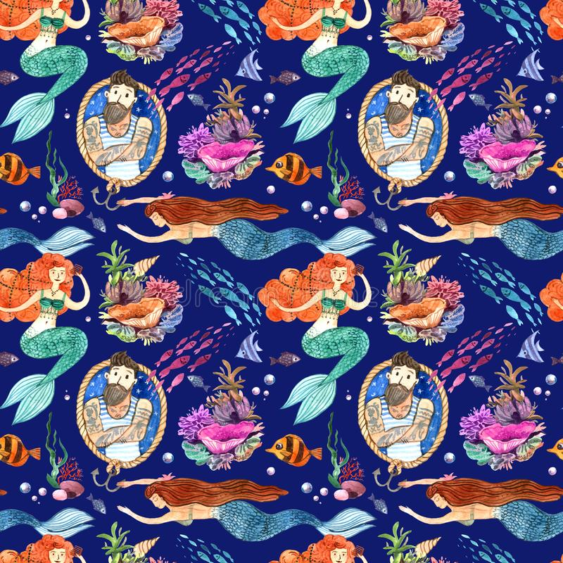 水彩手拉的例证美人鱼和鱼 无缝的模式 向量例证