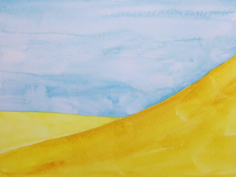 水彩手拉的例证风景沙漠 皇族释放例证