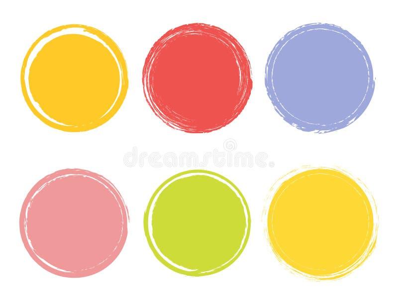 水彩手拉的元素的创造性的传染媒介例证 圈子刷子冲程背景 绘艺术设计 抽象概念 皇族释放例证