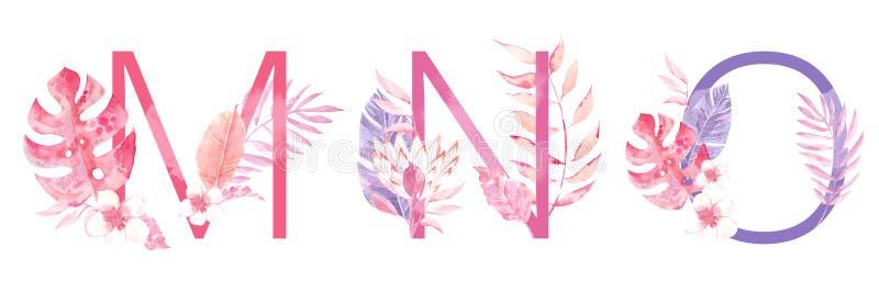 水彩手拉的热带信件组合图案或商标 大写M,N,与密林草本装饰的O 棕榈和 图库摄影