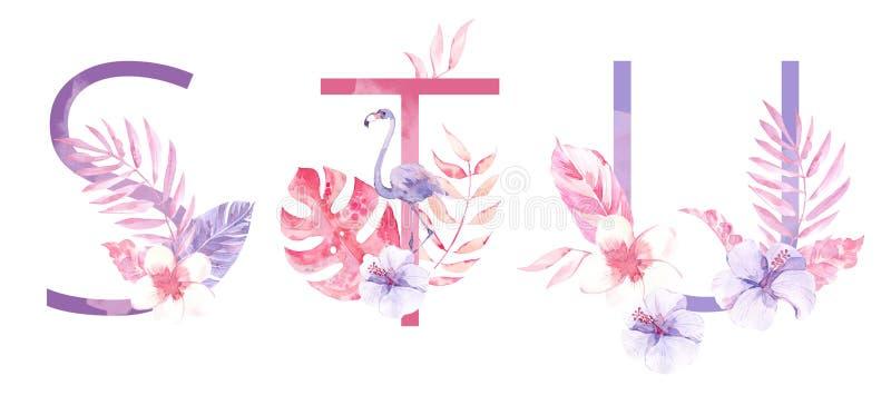 水彩手拉的热带信件组合图案或商标 大写S,T,与密林草本装饰的U 棕榈和 库存照片