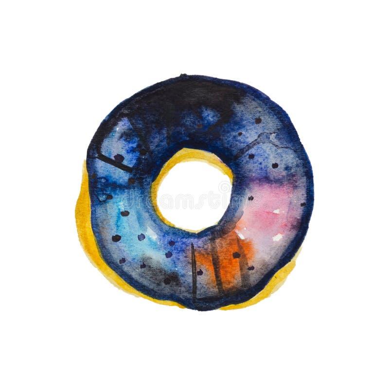水彩手拉的甜被冰的宇宙dounut 库存例证
