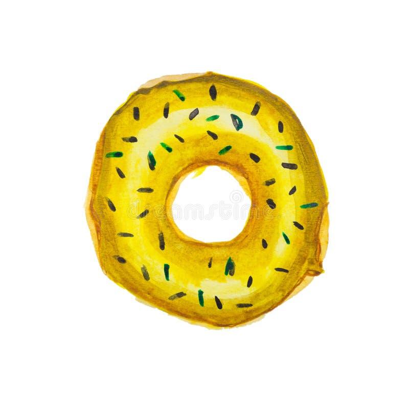 水彩手拉的甜黄色多福饼 库存例证