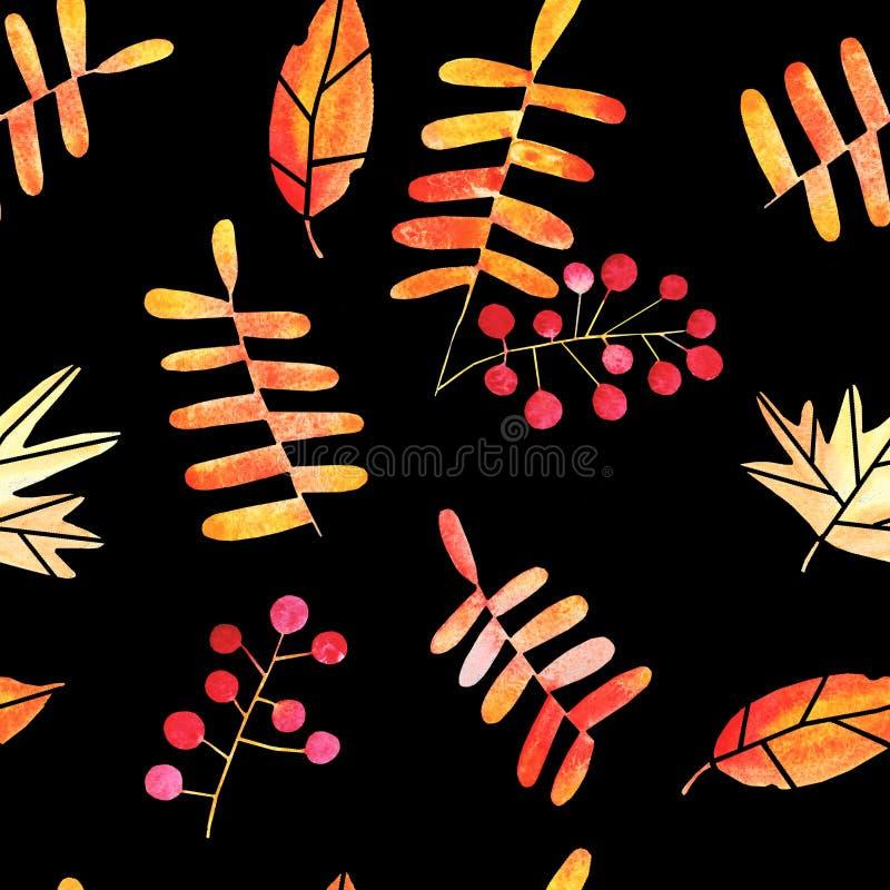 水彩手拉的秋叶无缝的样式 库存例证