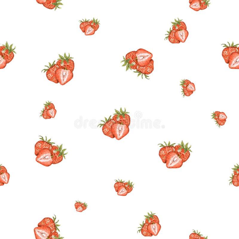水彩手拉的草莓集合无缝的样式 向量例证