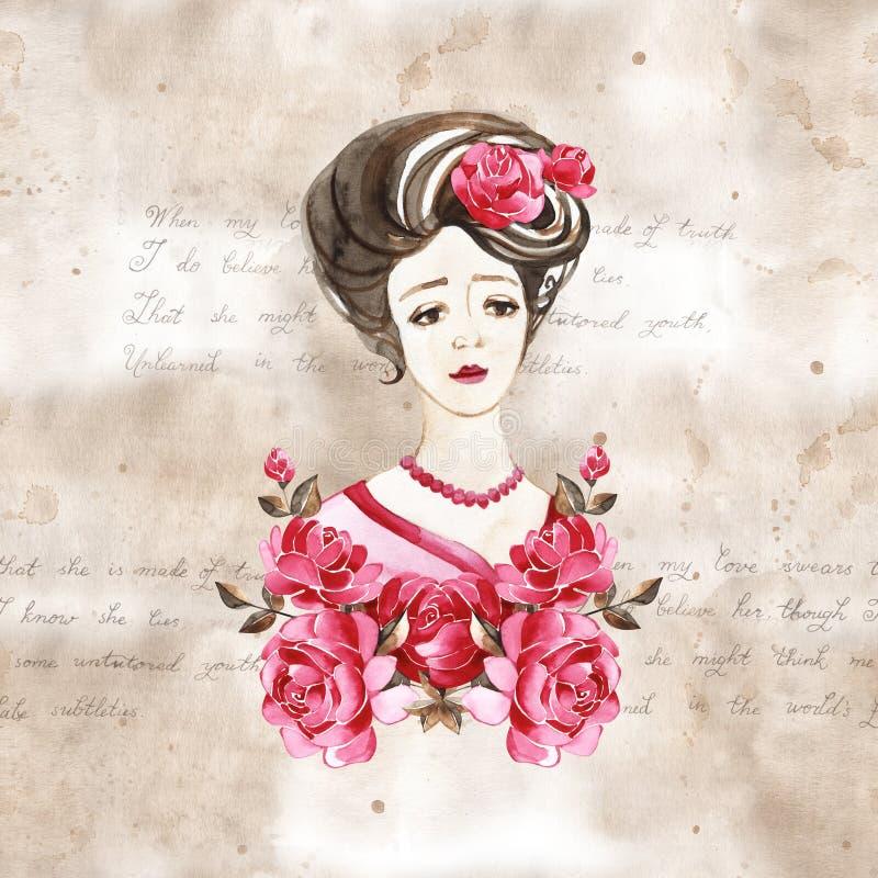 水彩手油漆画象有玫瑰的年轻女人 r 20世纪 皇族释放例证