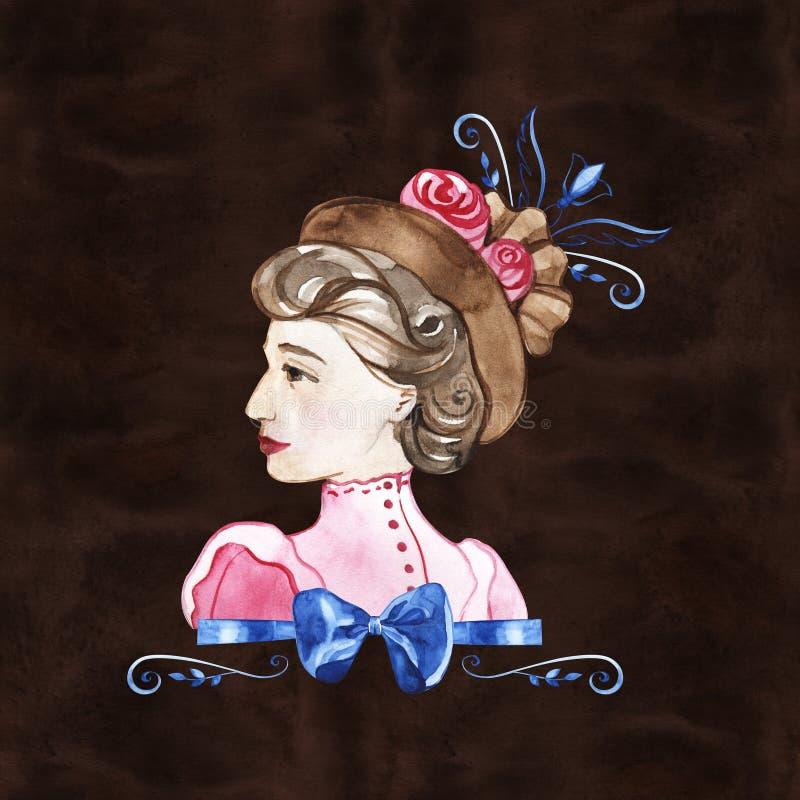 水彩手油漆画象有玫瑰的年轻女人 r 20世纪 向量例证