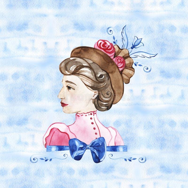 水彩手油漆画象有玫瑰的年轻女人 r 20世纪 库存例证