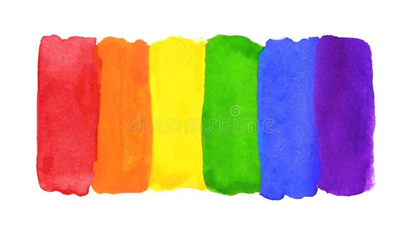 水彩手画五颜六色的镶边Ranbow旗子 向量例证