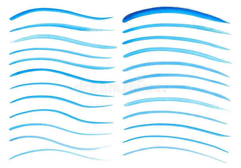 水彩手画刷子冲程的汇集 抽象背景蓝线 生动的水彩画波浪 海样式 库存例证