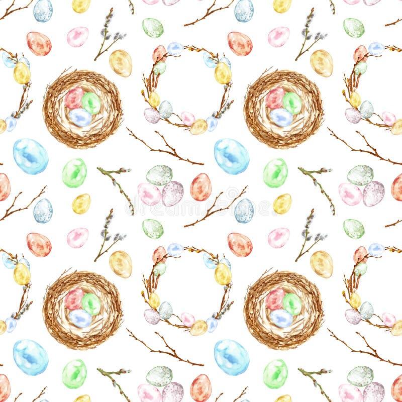 水彩手画复活节无缝的样式用色的鸡蛋,鸟巢,枝杈,树枝,花圈 装饰要素 免版税库存照片