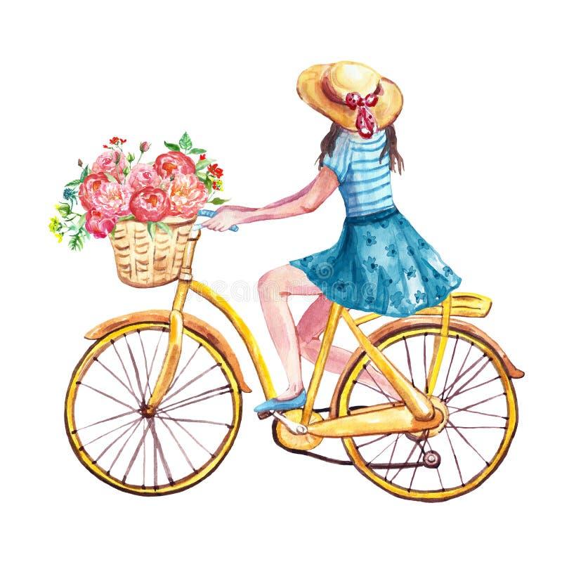 水彩手画女孩骑她的黄色自行车 春天和夏天例证 向量例证
