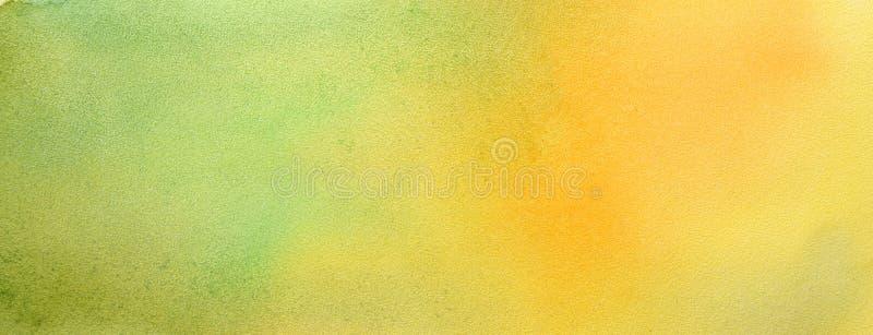 水彩手画抽象刷子冲程样式 黄绿色梯度背景 秋天颜色 免版税库存图片