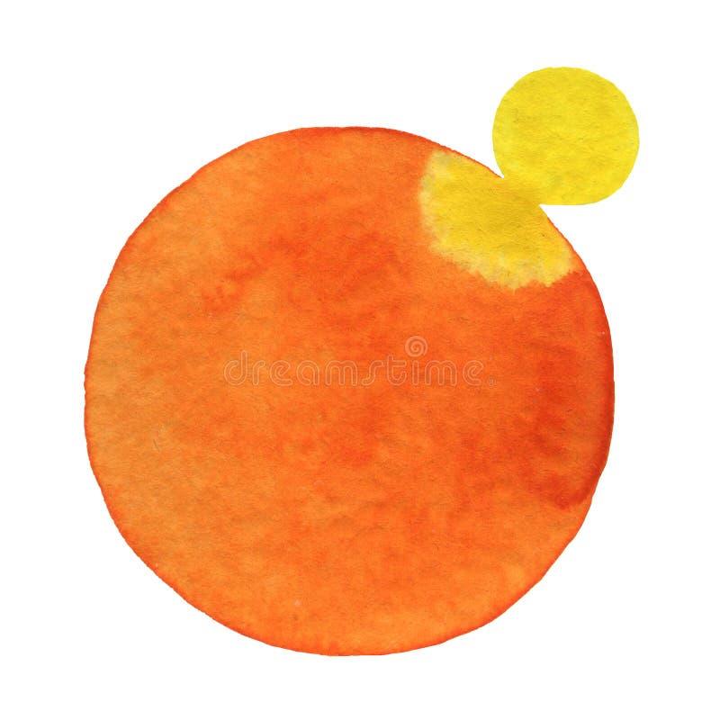 水彩手绘画在白色圆形 免版税库存照片
