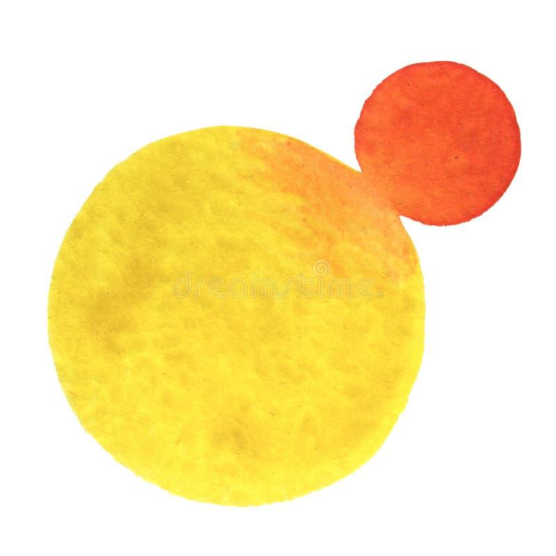水彩手绘画在白色圆形 库存照片