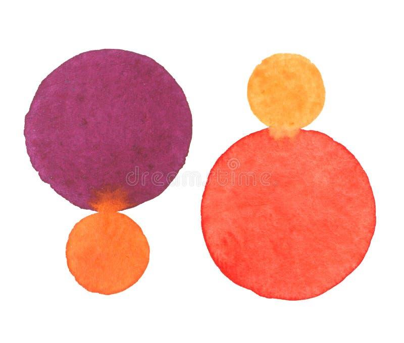 水彩手绘画在白色圆形 免版税库存图片