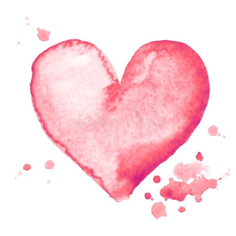 水彩手绘画在白色背景的桃红色心形 库存例证