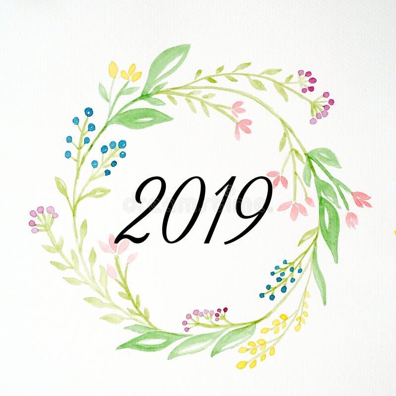水彩手绘画花的新年快乐2019年缠绕在白色背景,新年贺卡