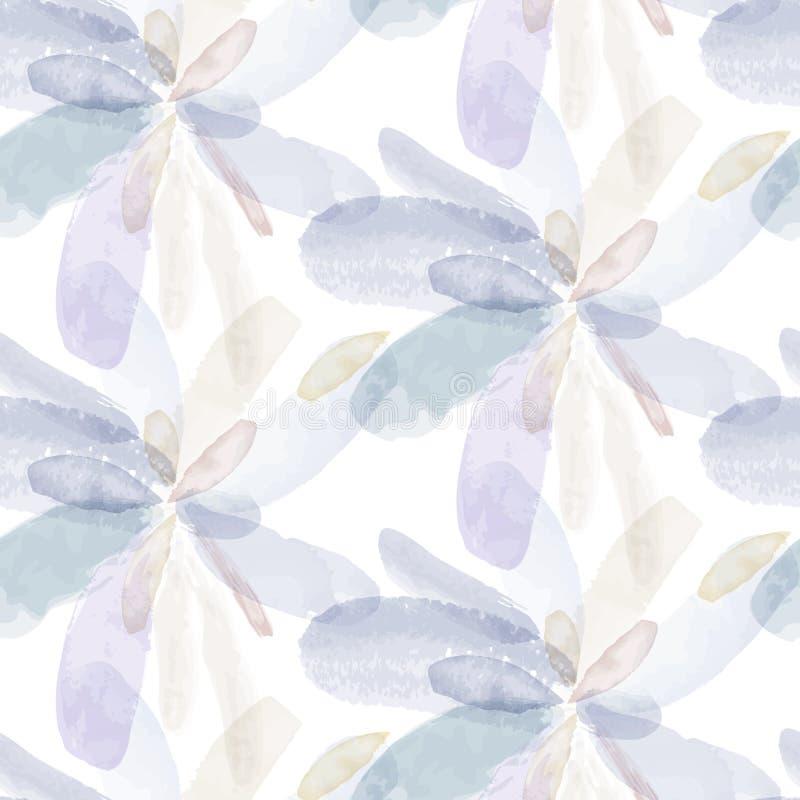 水彩手绘画花的无缝的样式 向量 库存例证