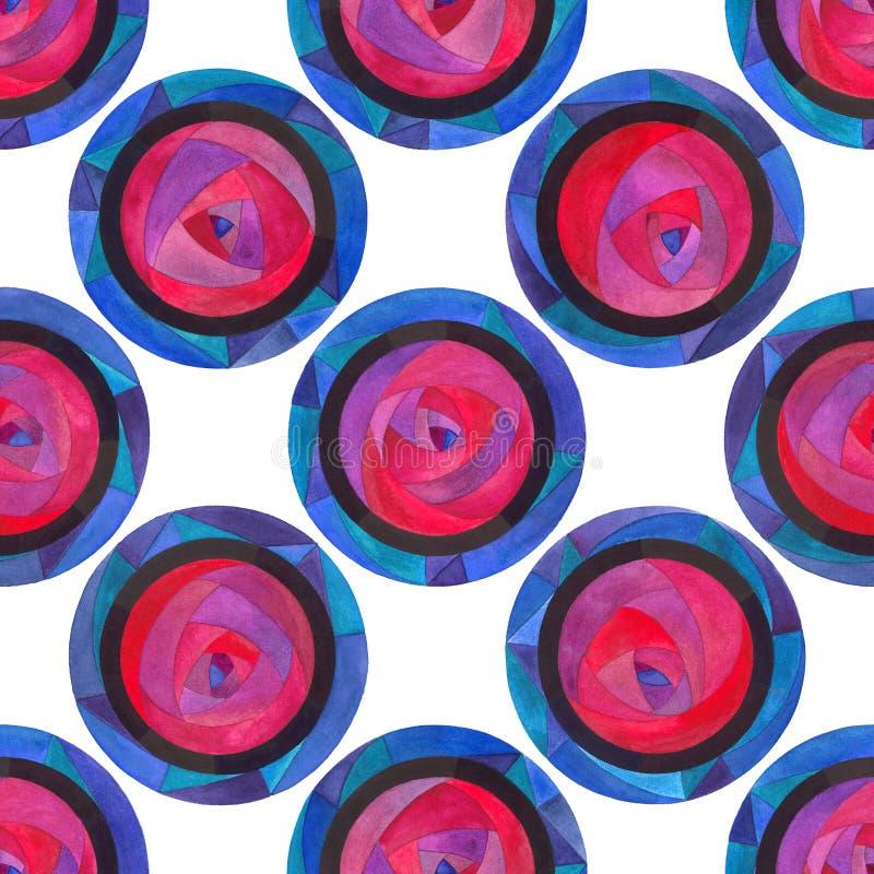 水彩抽象圈子无缝的样式 表面设计的,纺织品,包装纸手画现代圆点纹理, 向量例证