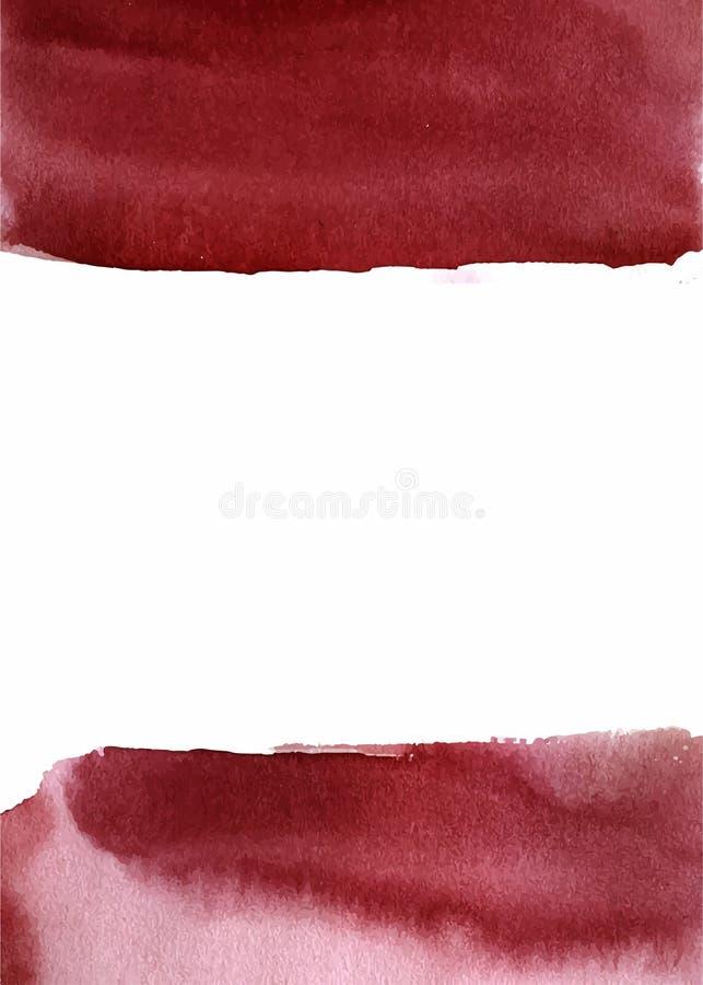 水彩摘要背景、手拉的水彩伯根地和白色纹理 向量例证