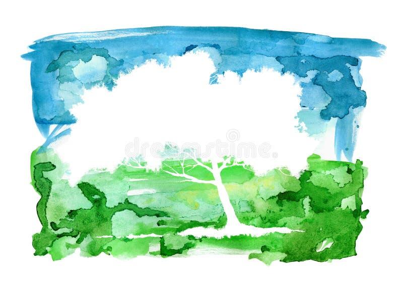 水彩摘要风景和树剪影 天空和草甸 库存例证