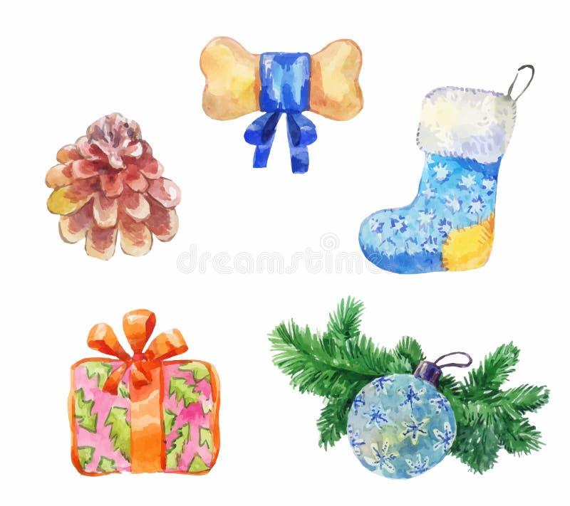 水彩新年象 圣诞节设计元素集 皇族释放例证