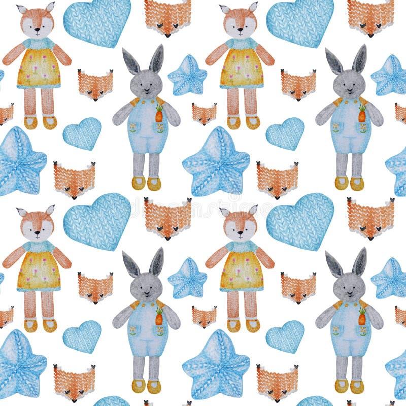 水彩无缝样式爱好编织 手拉的被编织的玩具的汇集 向量例证