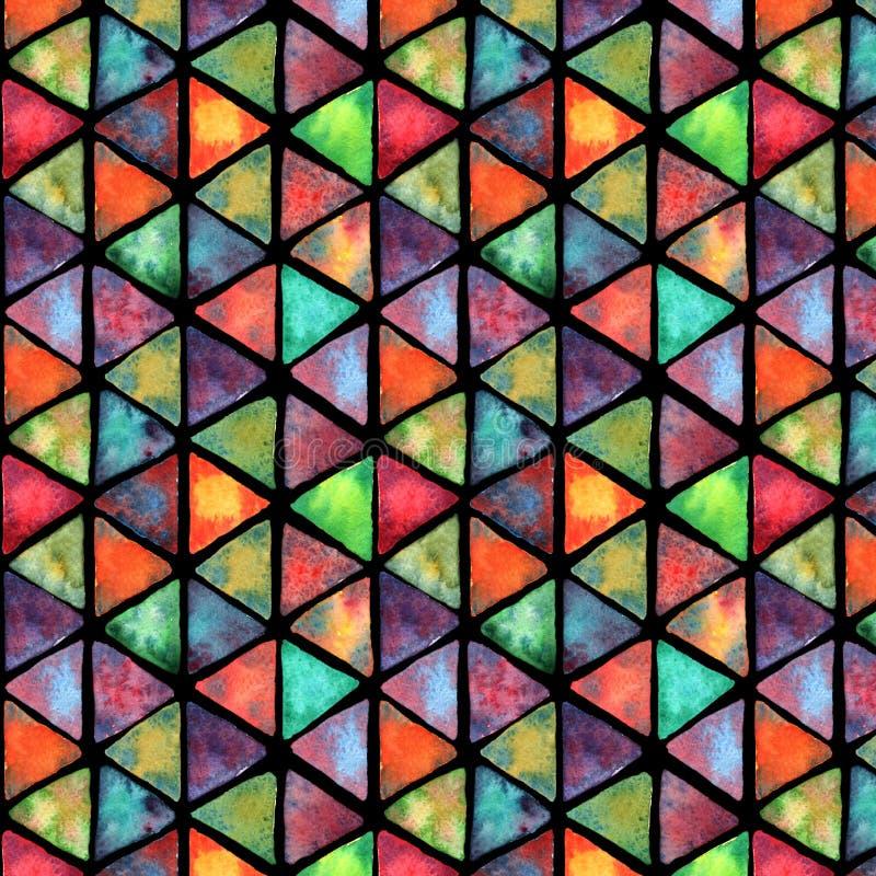 水彩无缝的五颜六色的样式 伟大为织品,纺织品,墙纸 库存例证