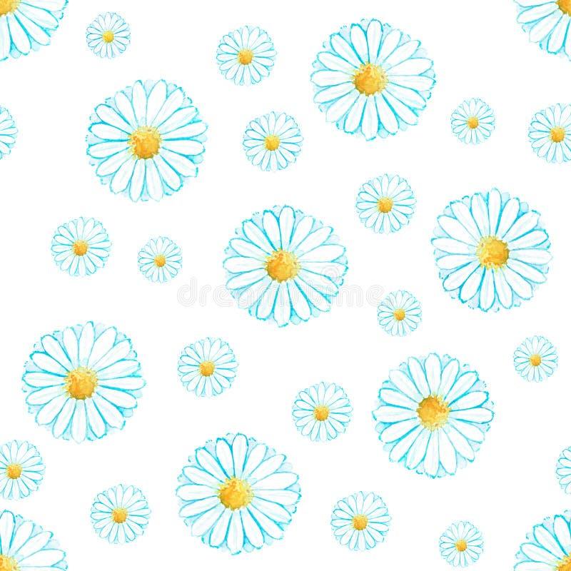 水彩无缝的春黄菊花纹花样 免版税库存照片