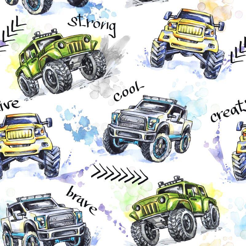 水彩无缝的样式动画片巨型卡车 五颜六色的极端体育背景 4x4 路的车SUV 皇族释放例证