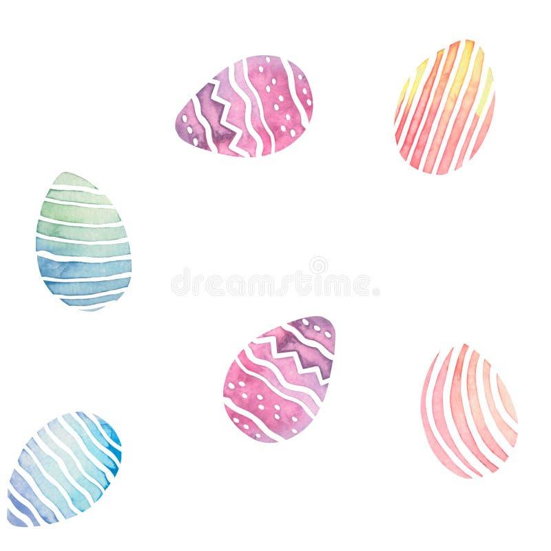 水彩无缝的样式用五颜六色的复活节彩蛋 皇族释放例证