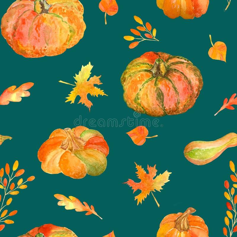 水彩无缝的样式用南瓜和秋叶 免版税图库摄影