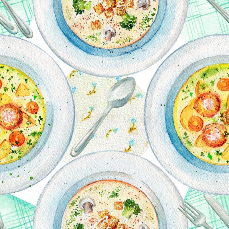 水彩无缝的样式用汤、餐巾和碗筷 向量例证