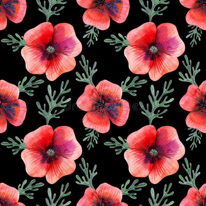 水彩无缝的样式鸦片花和叶子 向量例证