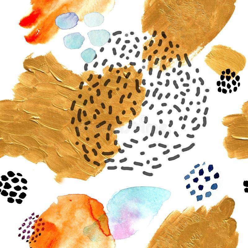 水彩无缝的样式,小点孟菲斯时尚样式,重复背景的明亮的设计 手画现代刷子 向量例证